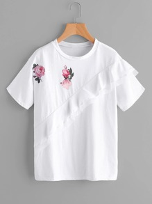Flowers Print Tiered Frill Tshirt