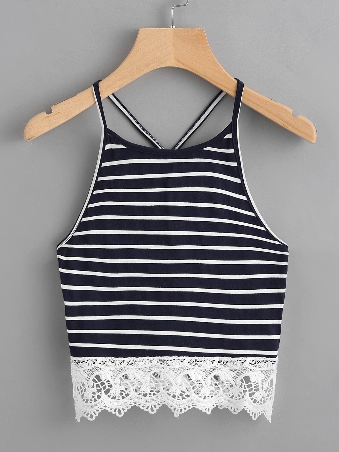 Фото Contrast Crochet Hem Striped Cami Top. Купить с доставкой