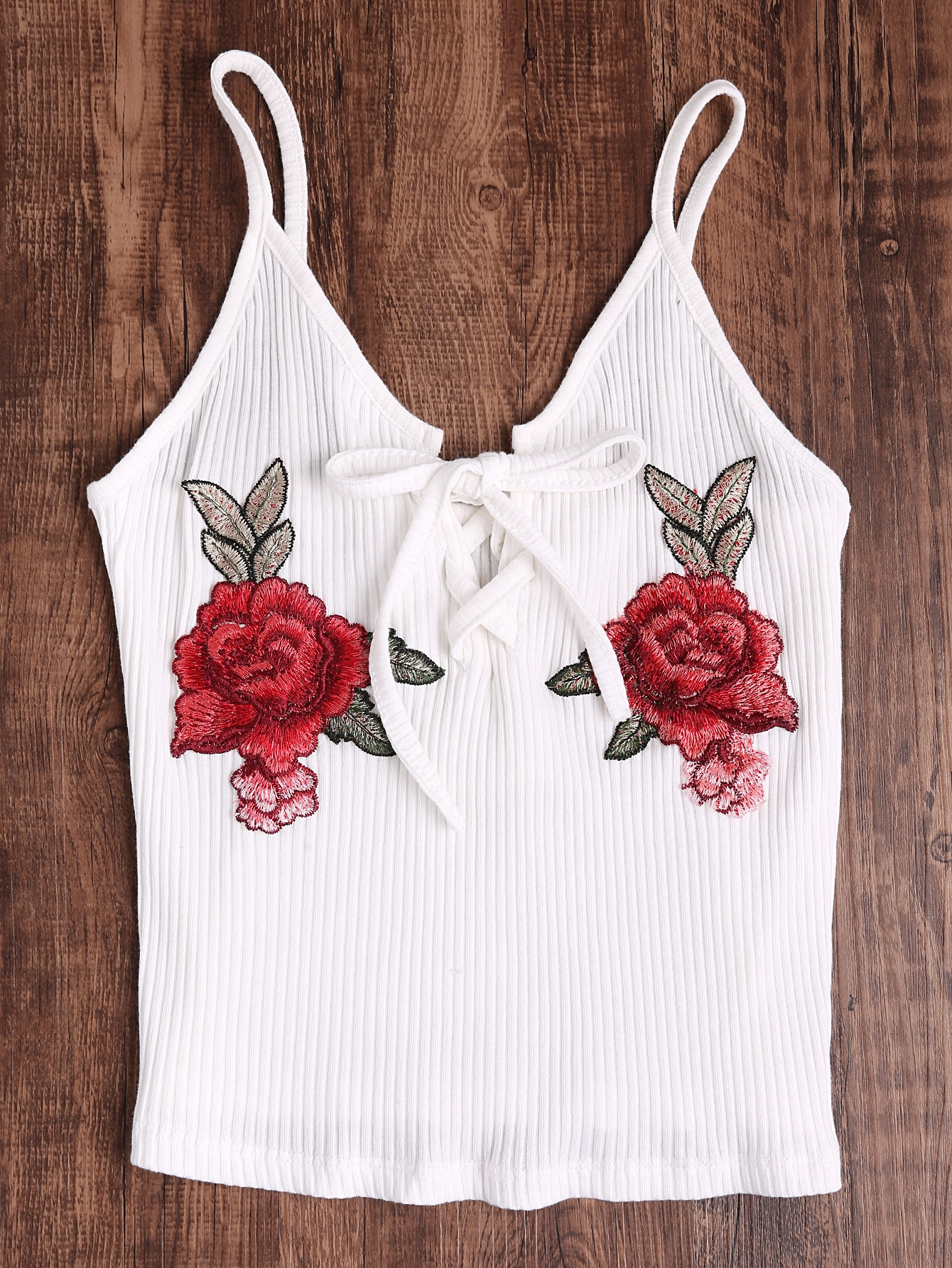 Rose Embroidered Patch Lace Up Ribbed Cami Top RVES170421101