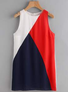 Color Block Cut And Sew Mini Tank Dress