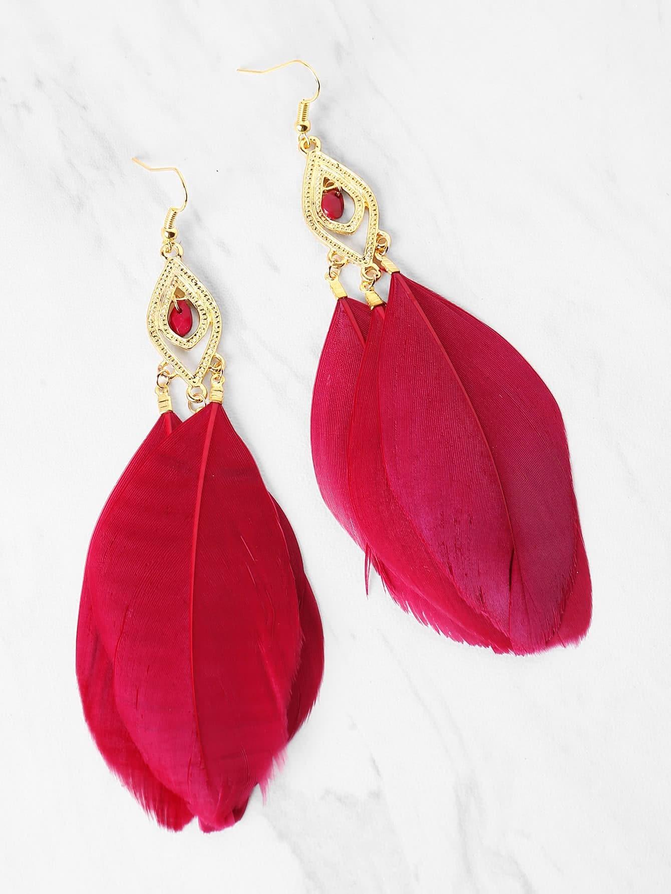 Фото Feather Embellished Drop Earrings. Купить с доставкой