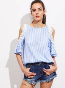 Lace Applique Open Shoulder Keyhole Back Striped Top