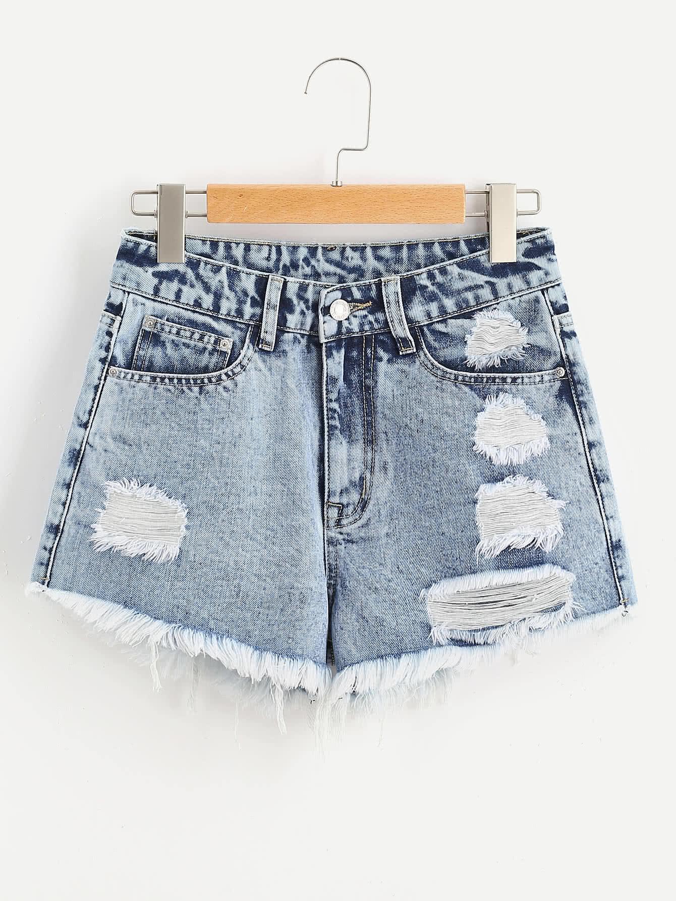 Фото Cloud Wash Ripped Frayed Hem Denim Shorts. Купить с доставкой