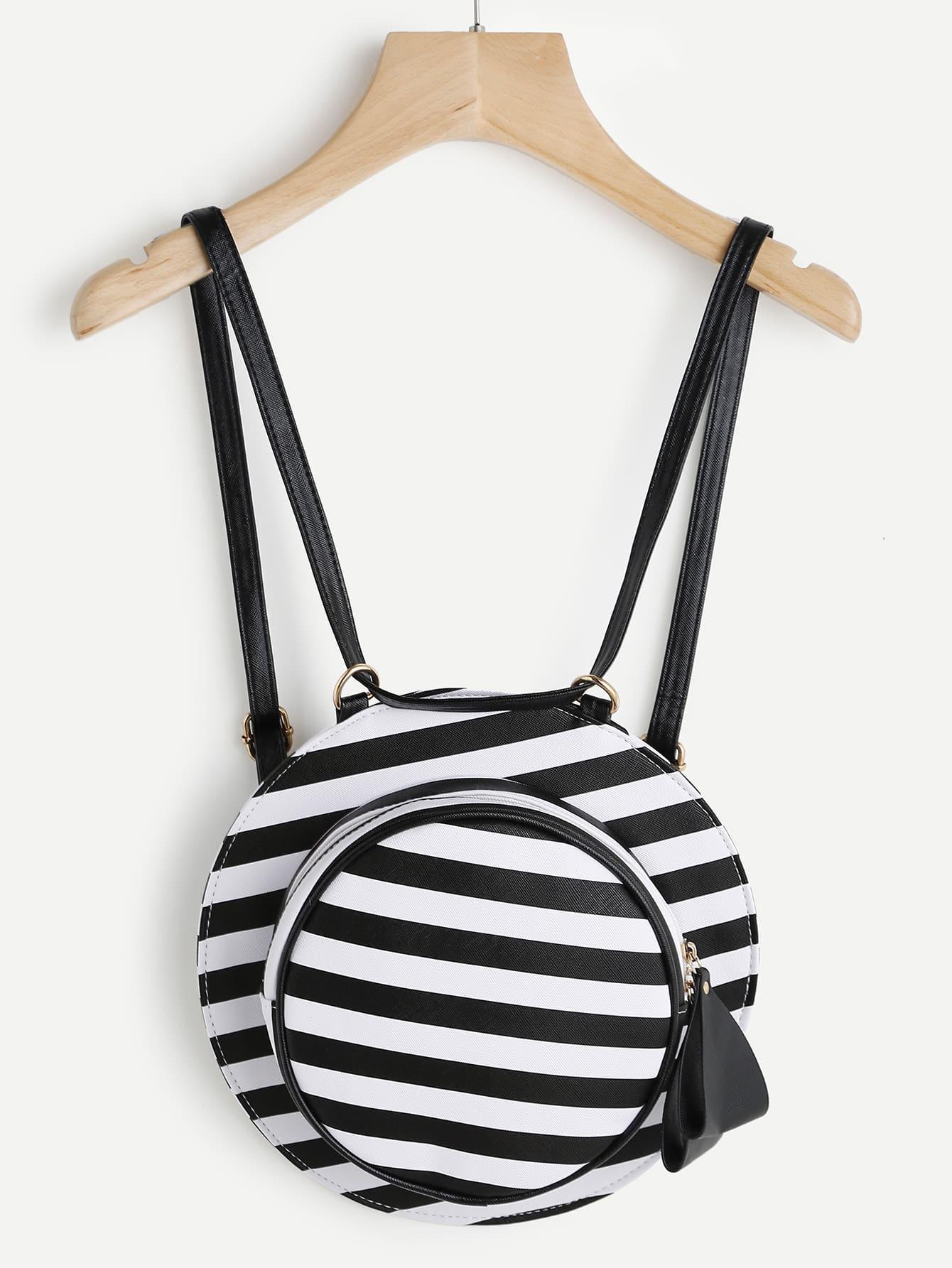 Фото Hat Shaped Striped PU Backpack. Купить с доставкой