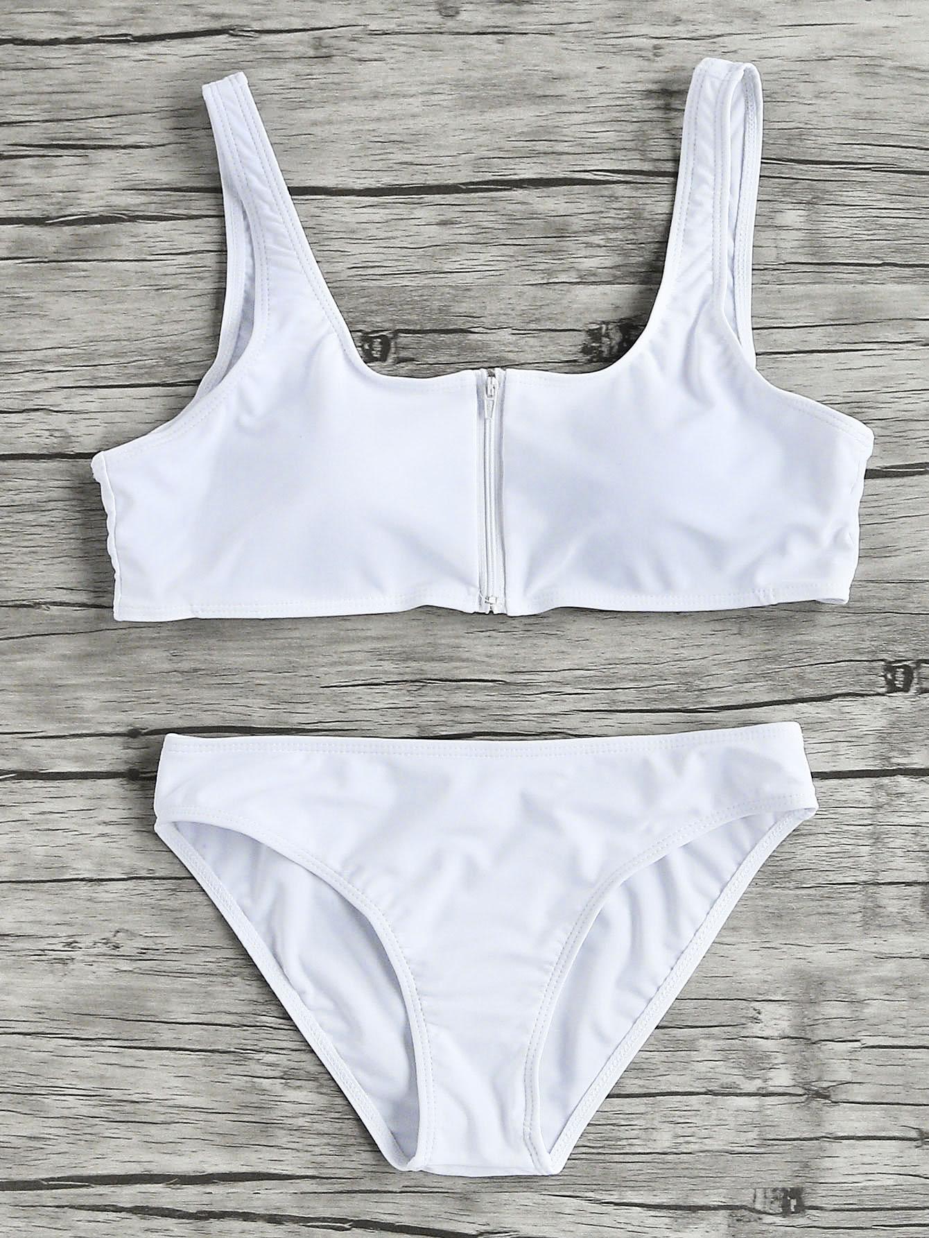 Фото Zipper Up Scoop Neck Bikini Set. Купить с доставкой