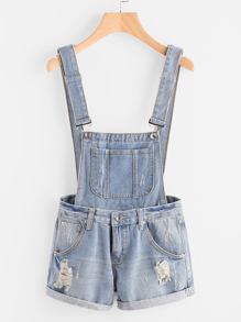 Distress Cuffed Denim Dungaree Shorts