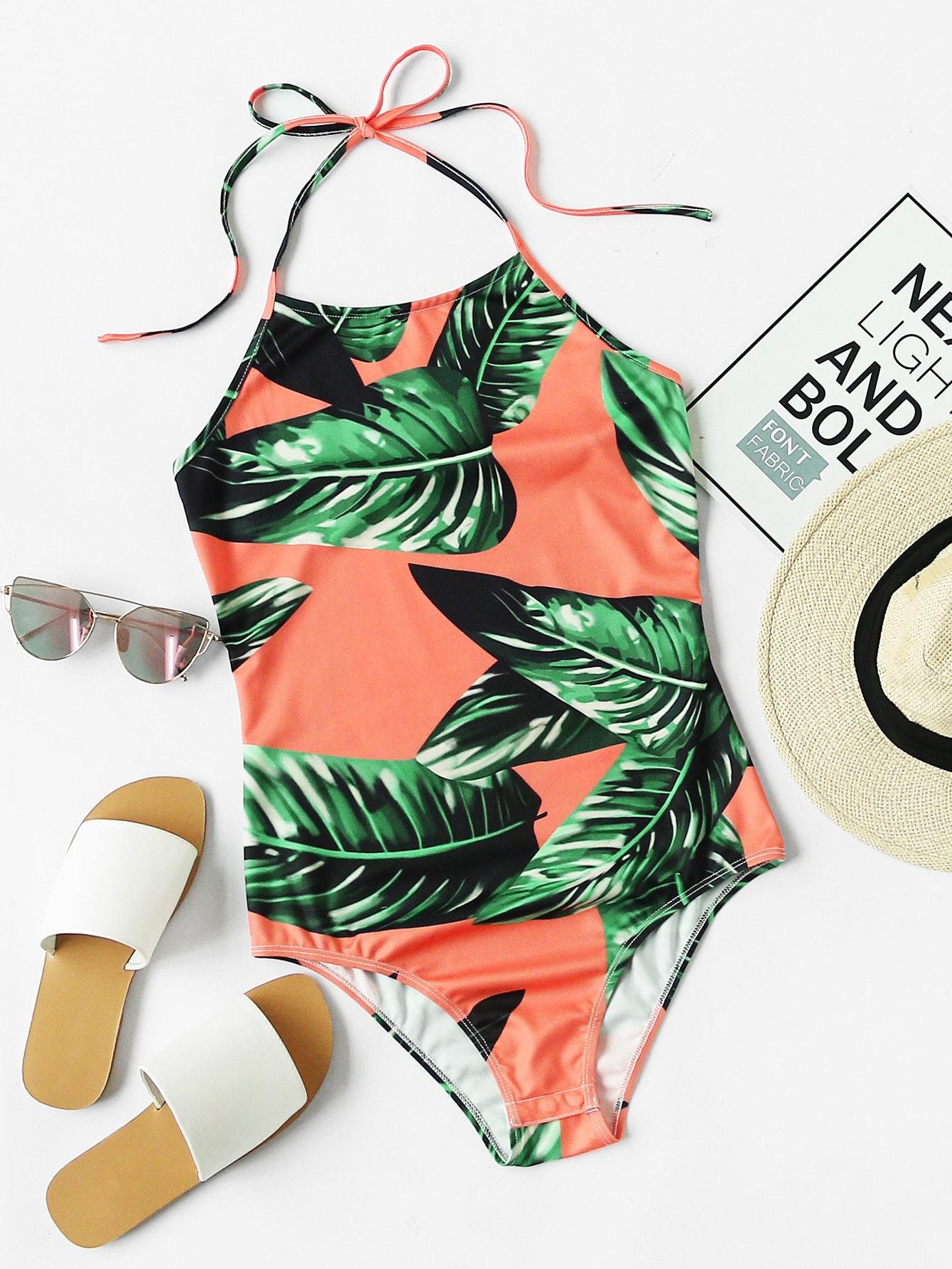 Фото Palm Leaf Print Halter Neck Bodysuit. Купить с доставкой