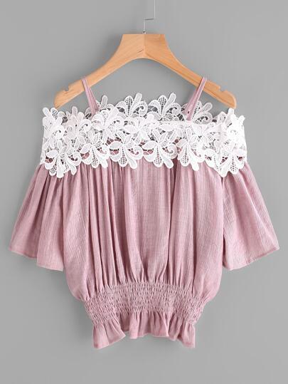 Open Shoulder Shirred Waist Lace Trim Blouse