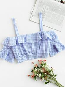 Cold Shoulder Gingham Ruffle Crop Top