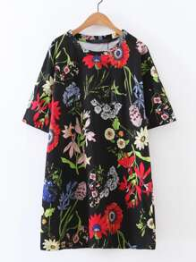 Flower Print Tee Dress