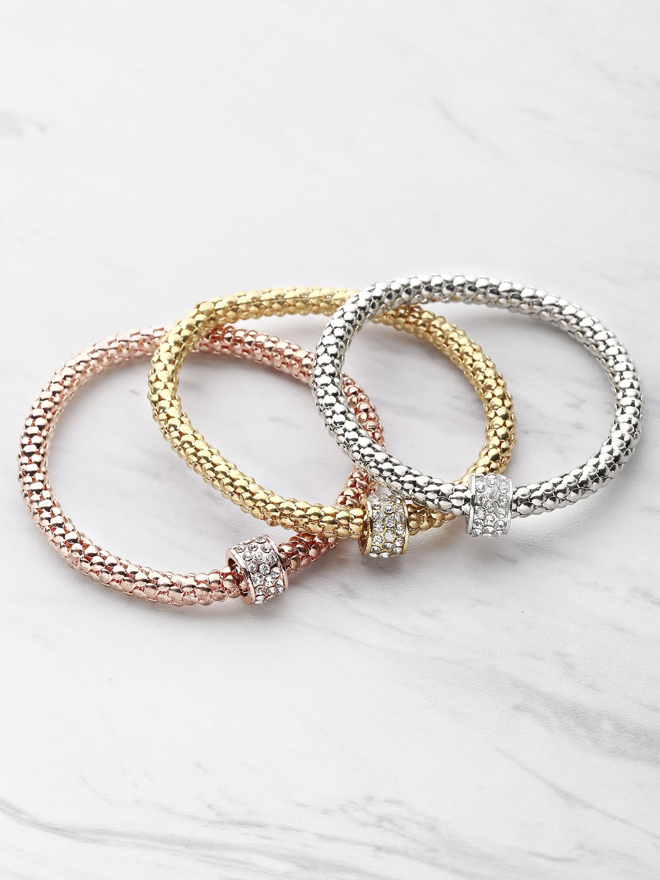 Фото Rhinestone Embellished Metal Bracelet Set. Купить с доставкой