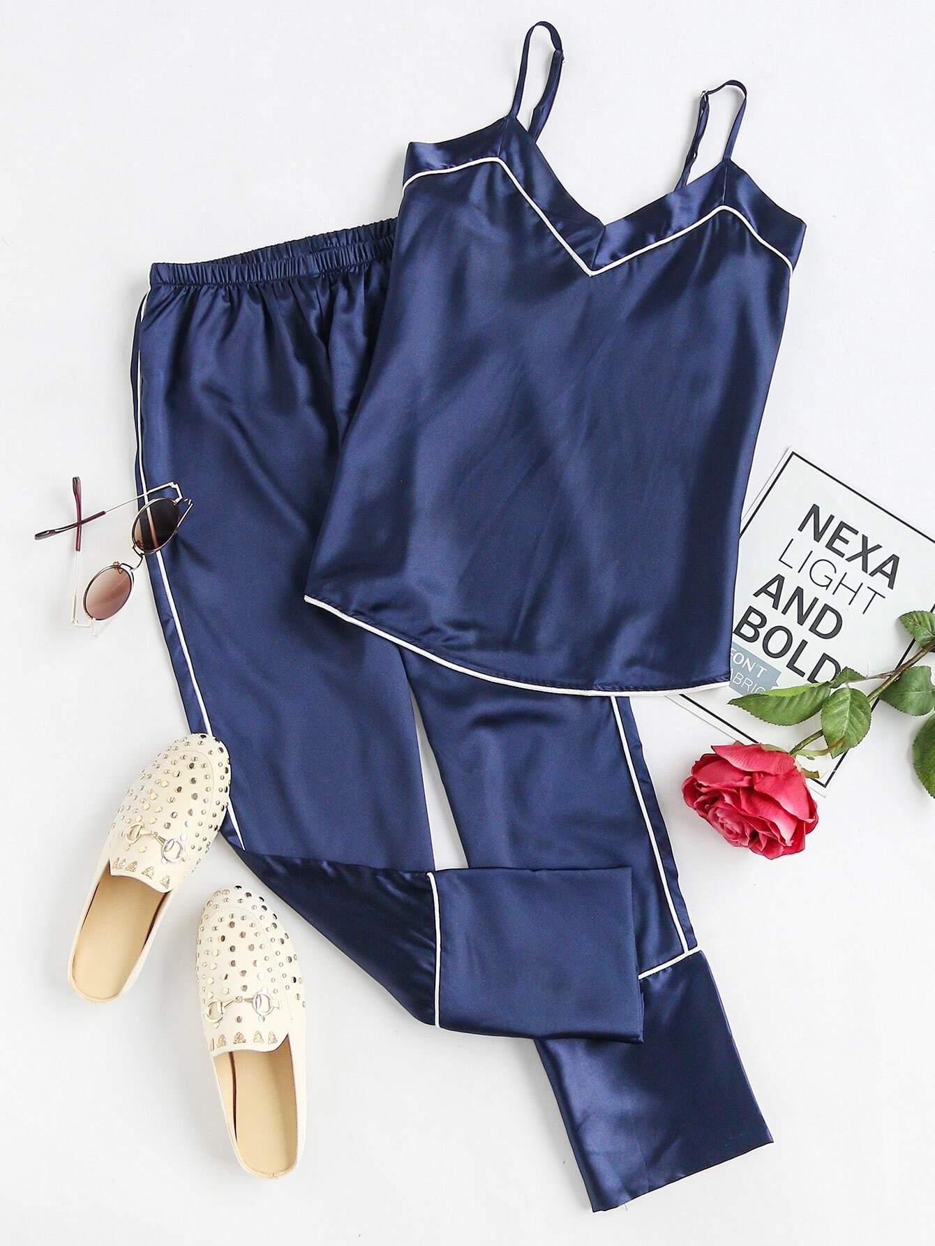 Фото Satin Contrast Binding Cami Pajama Set. Купить с доставкой