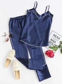 Satin Contrast Binding Cami Pajama Set