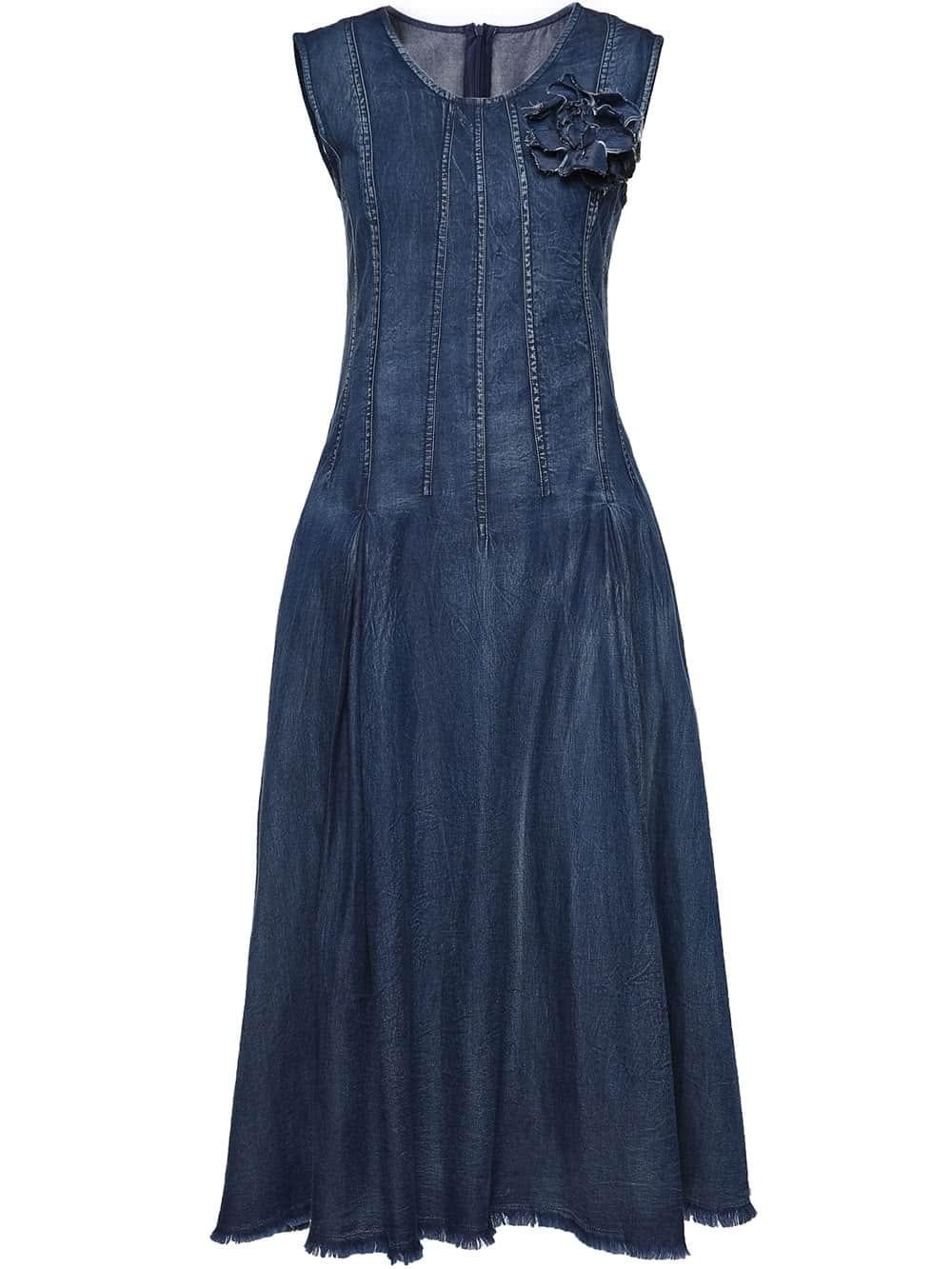 Фото Flower Applique Denim Dress. Купить с доставкой