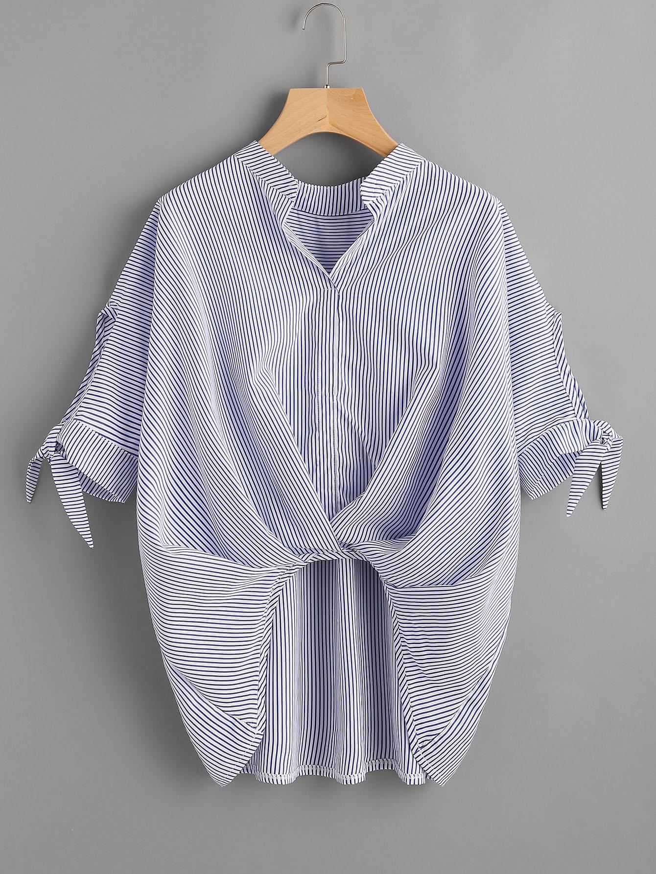 Фото Vertical Striped Box Pleated Tie Cuff Top. Купить с доставкой