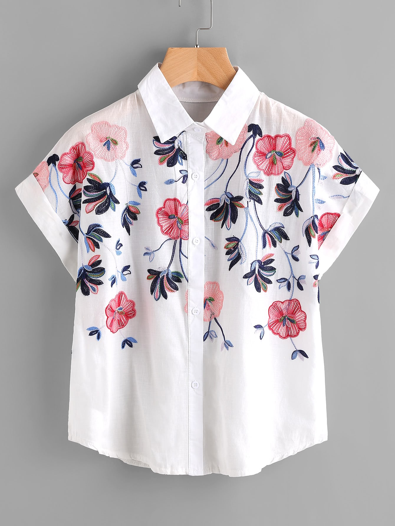 Embroidery rolled sleeve shirt shein sheinside