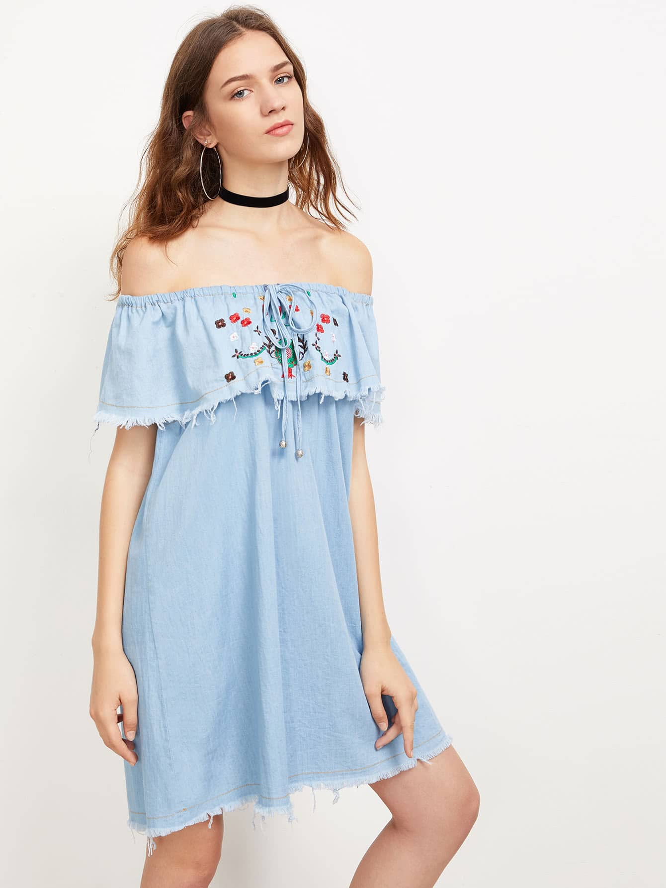 Фото Tie Front Embroidered Flounce Frayed Denim Dress. Купить с доставкой