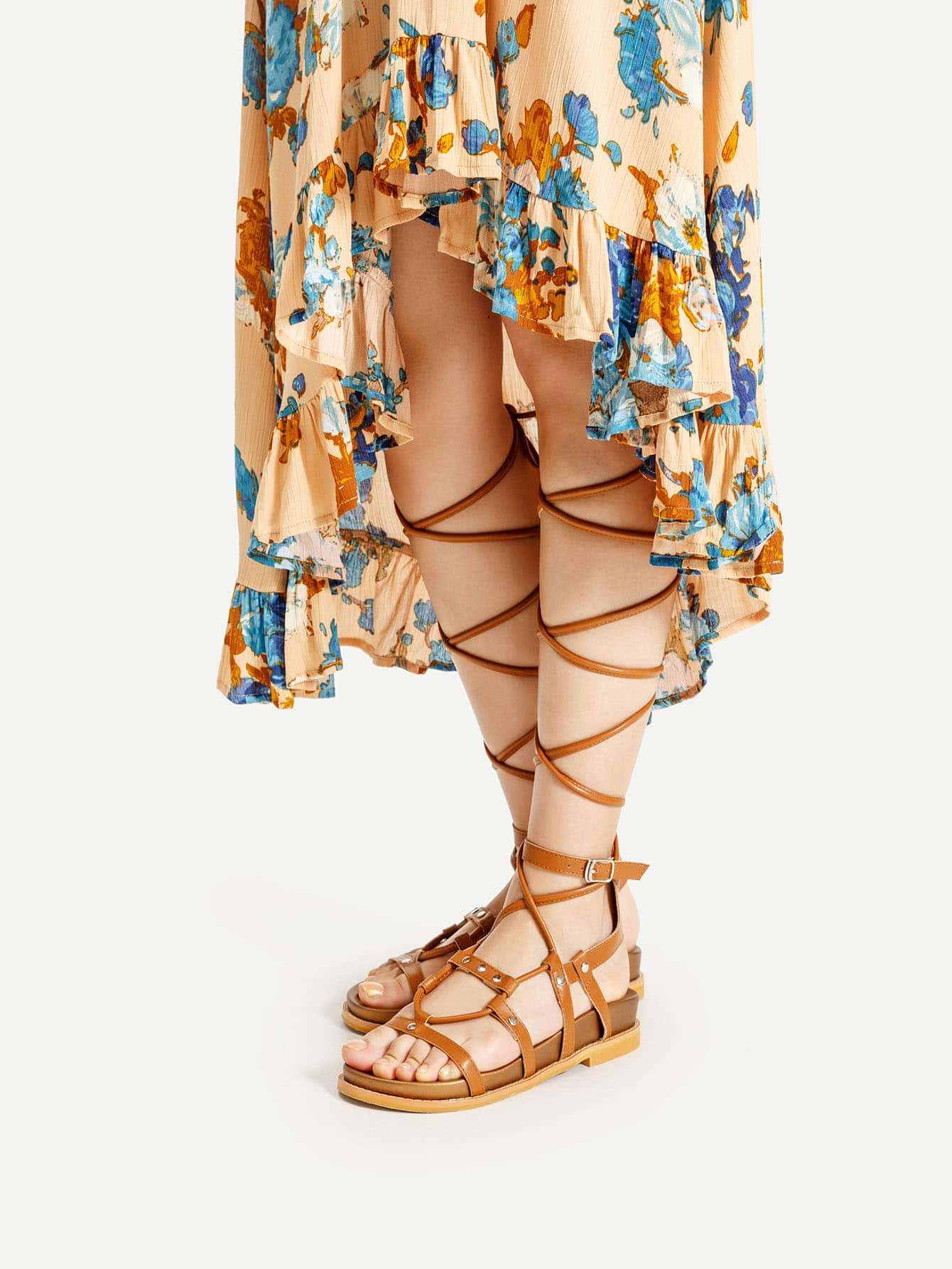 Caged Lace Up Gladiator Sandals shoes170508805