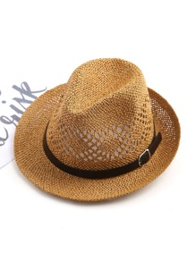 Sombrero de paja hueco con banda en contraste