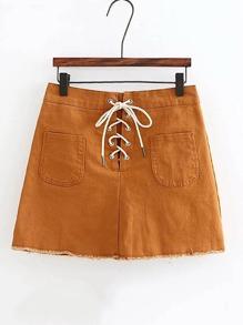 Lace Up Grommet Raw Hem Skirt