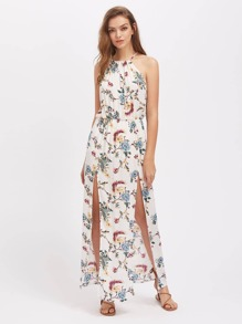 Halterneck Floral Print M-Slit Dress