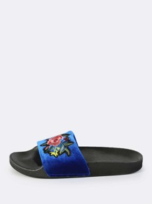 Floral Embroiderd Velvet Sandals ROYAL BLUE