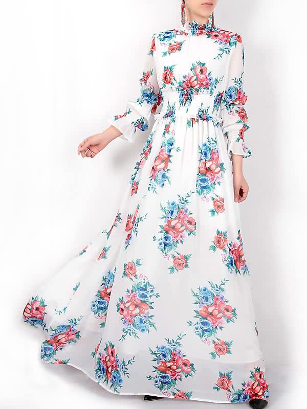 Фото Flowers Print Elastic-Waist Maxi Dress. Купить с доставкой