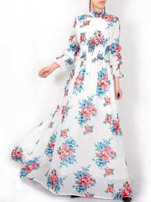 Flowers Print Elastic-Waist Maxi Dress