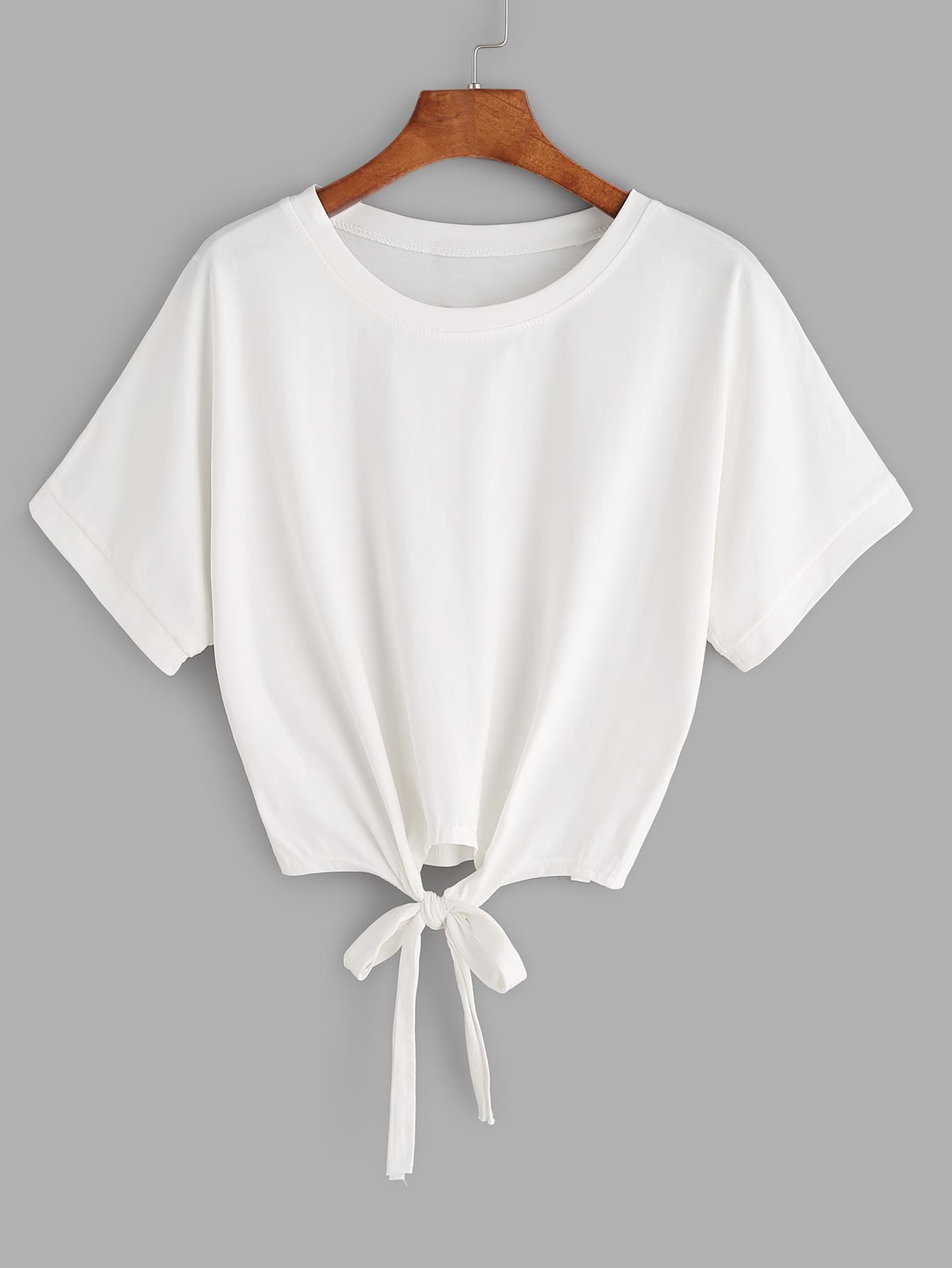 Tie front crop t shirt shein sheinside for High end white t shirts