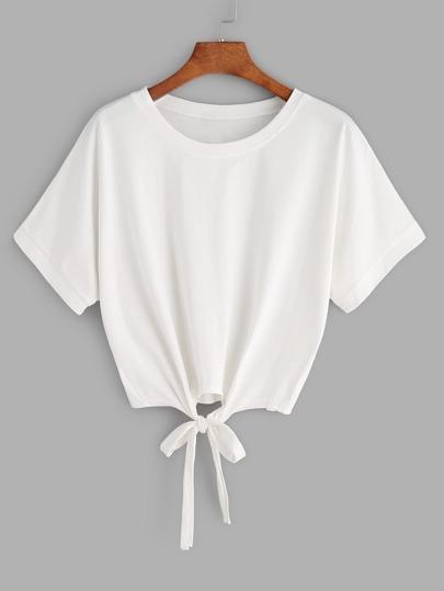 shirt court cordon sur le devant - blanc