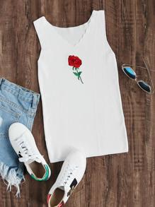 Top brodé des roses tricoté