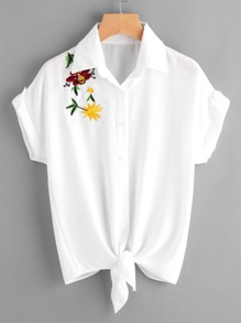 Embroidered Knot Hem Blouse