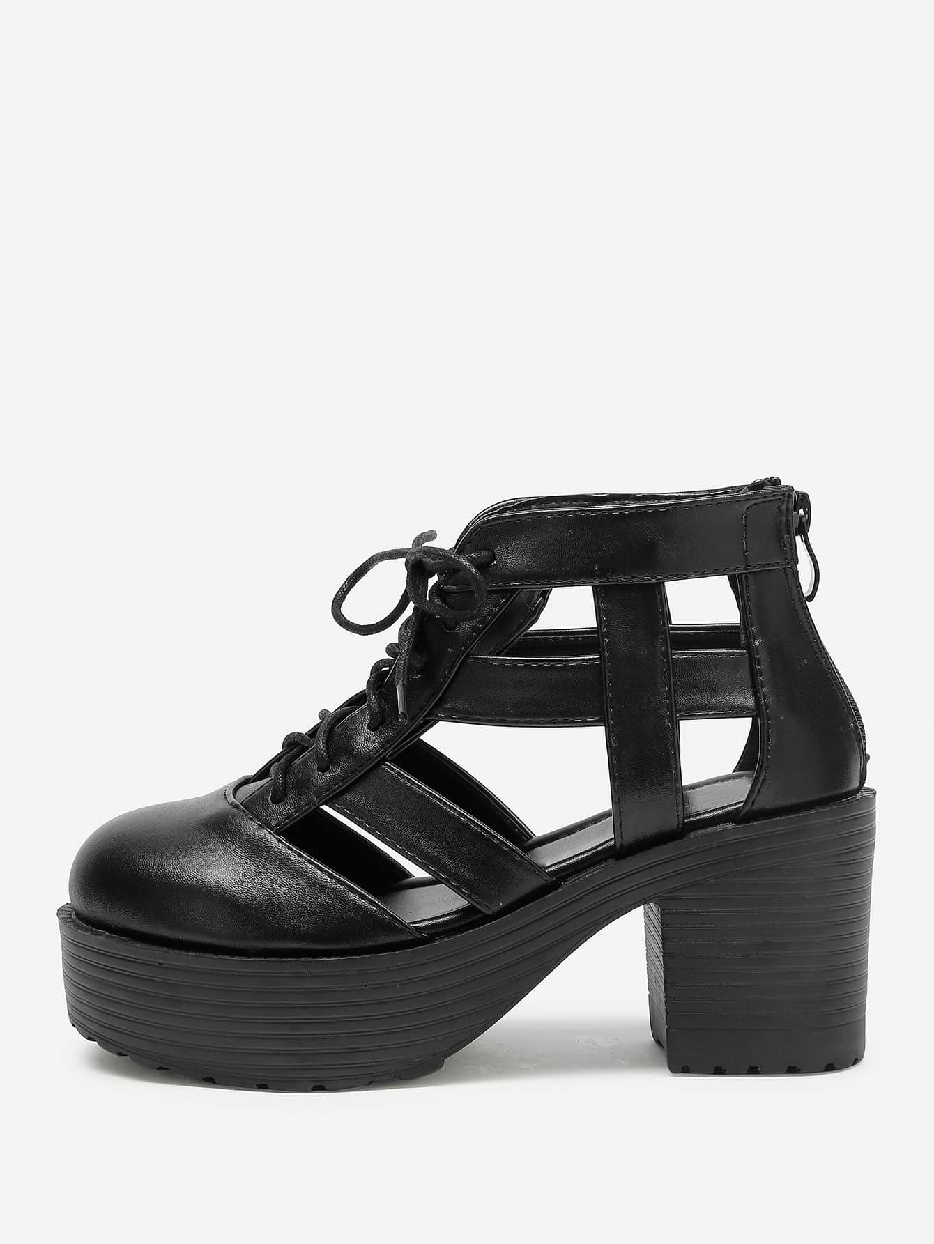 Фото Caged Design Lace Up Platform Heeled Shoes. Купить с доставкой