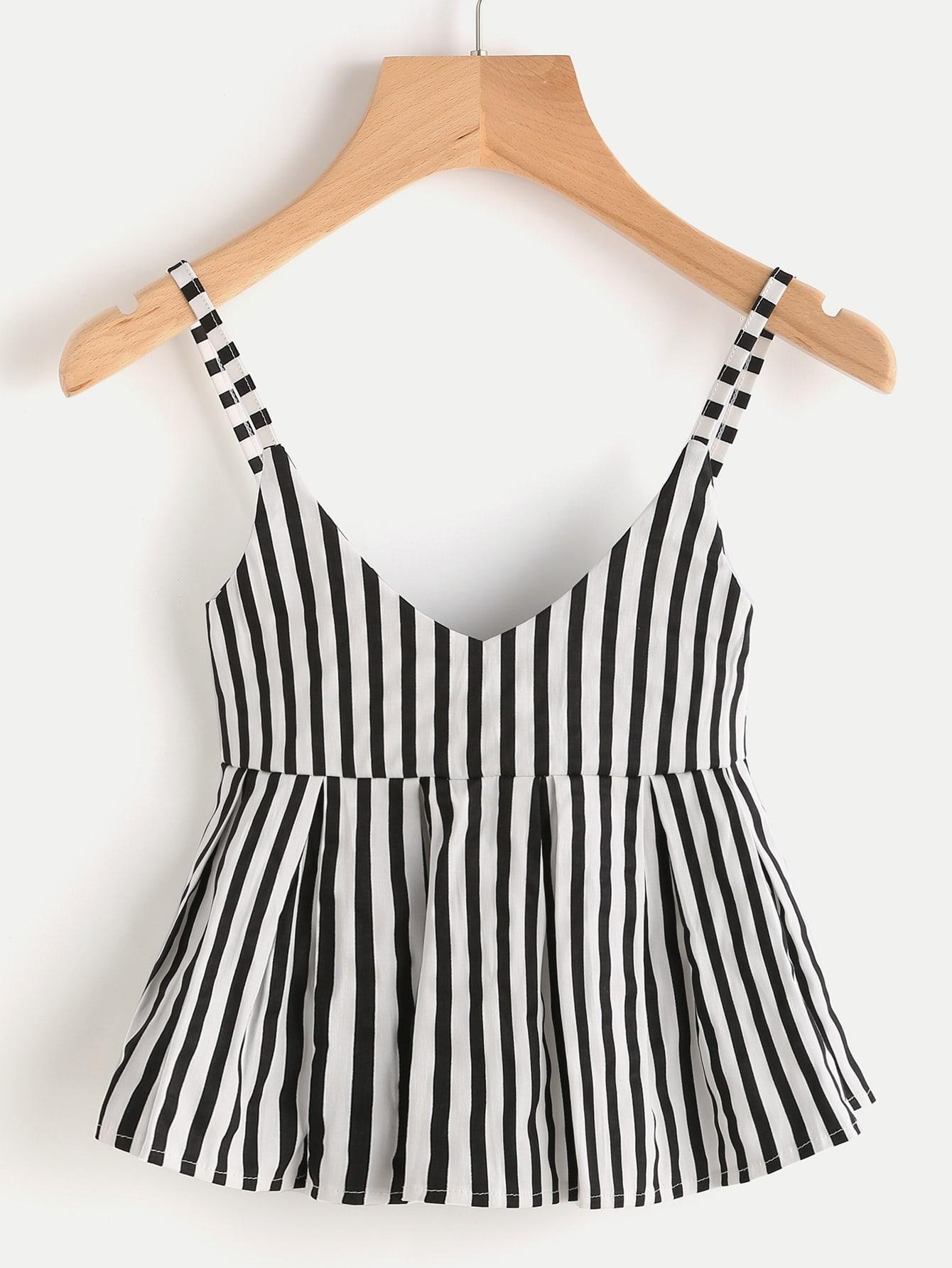 V Neckline Vertical Striped Babydoll Cami Top RVES170509103
