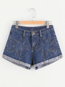 Shorts con estrella en dnim con vuelta