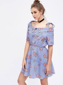 Vestido de rayas con estampado