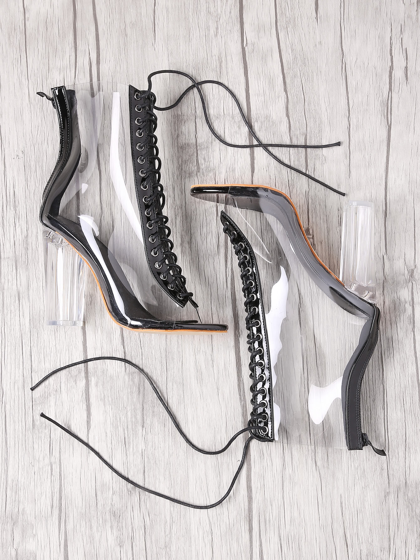 Lace Up Zipper Back Transparent Heels