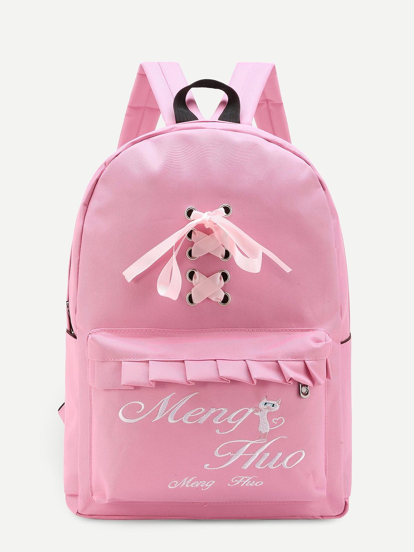 Фото Ruffle Detail Lace Up Canvas Backpack. Купить с доставкой