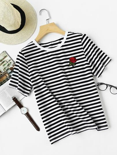 Embroidered Rose Patch Striped Tee