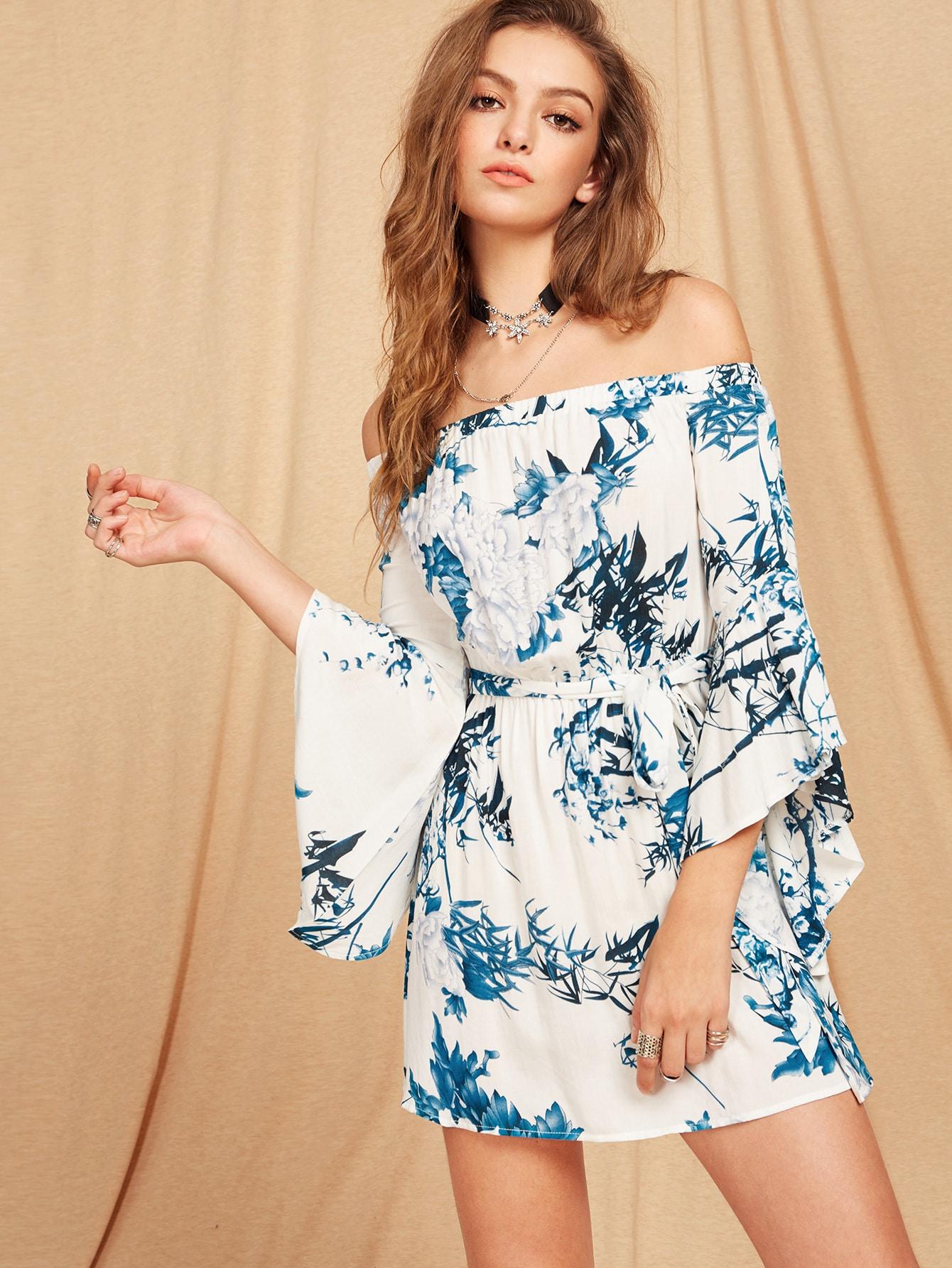 Фото Trumpet Sleeve Self Belted Botanical Bardot Dress. Купить с доставкой