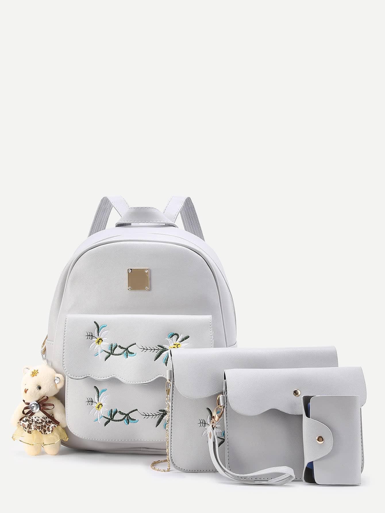 Фото Flower Embroidery And Bear Decorated PU Backpack Set 4pcs. Купить с доставкой