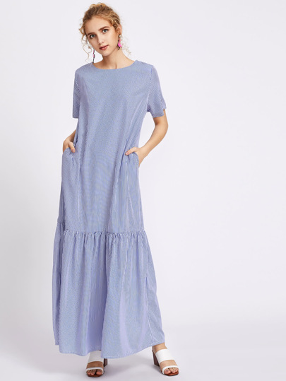 Pinstripe Drop Waist Full Length Dress With Pockets