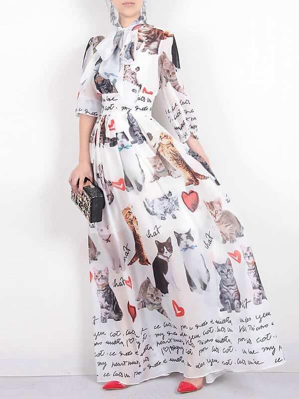 Фото Tie Neck Cats Print Maxi Dress. Купить с доставкой