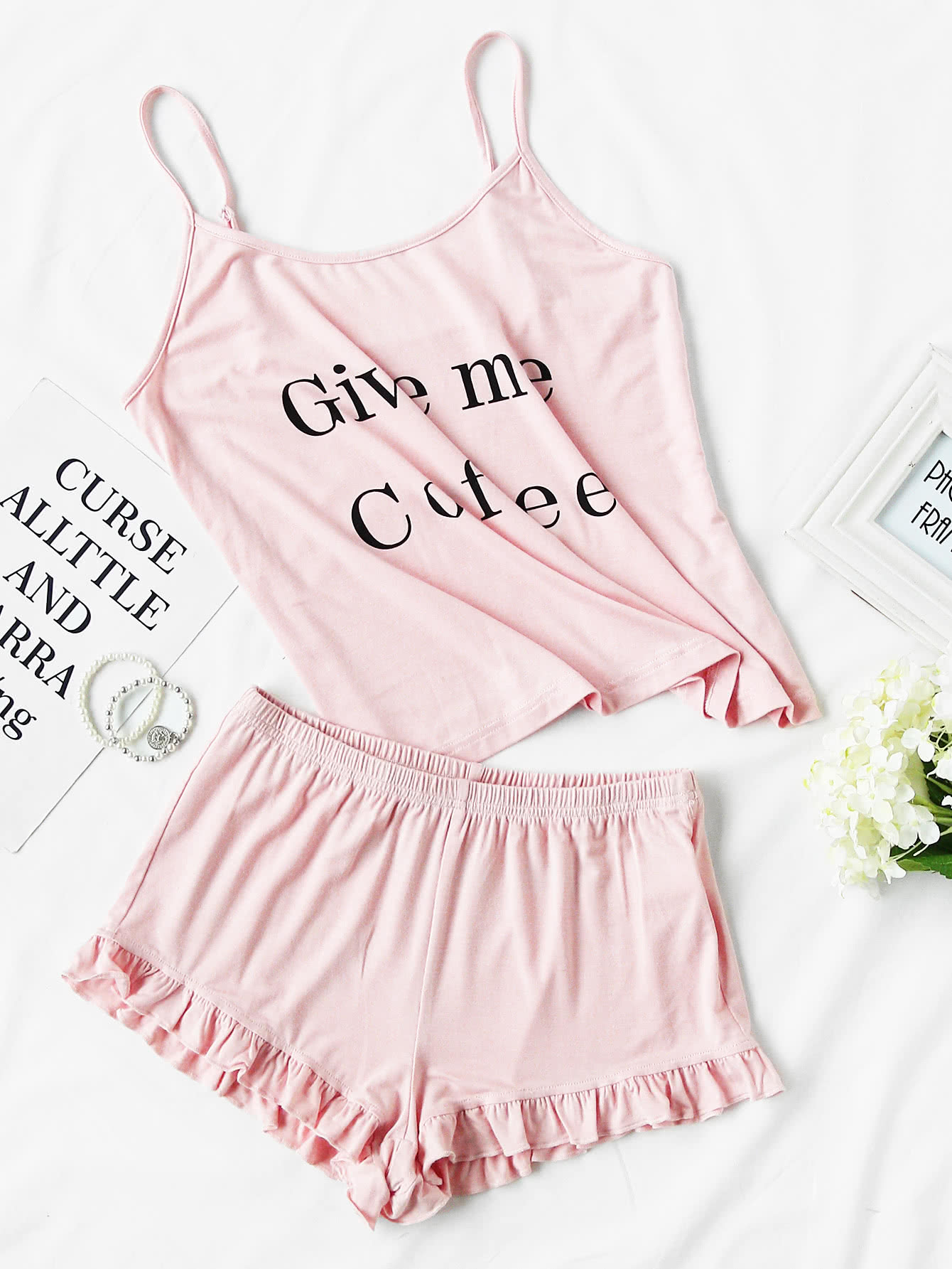 Letter Print Cami And Ruffle Shorts Pajama Set letter print cami and ruffle shorts pajama set