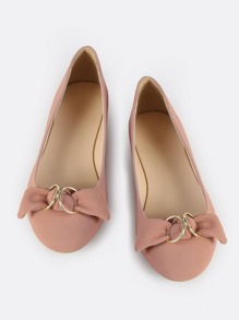 Double Ring Bow Flat MAUVE