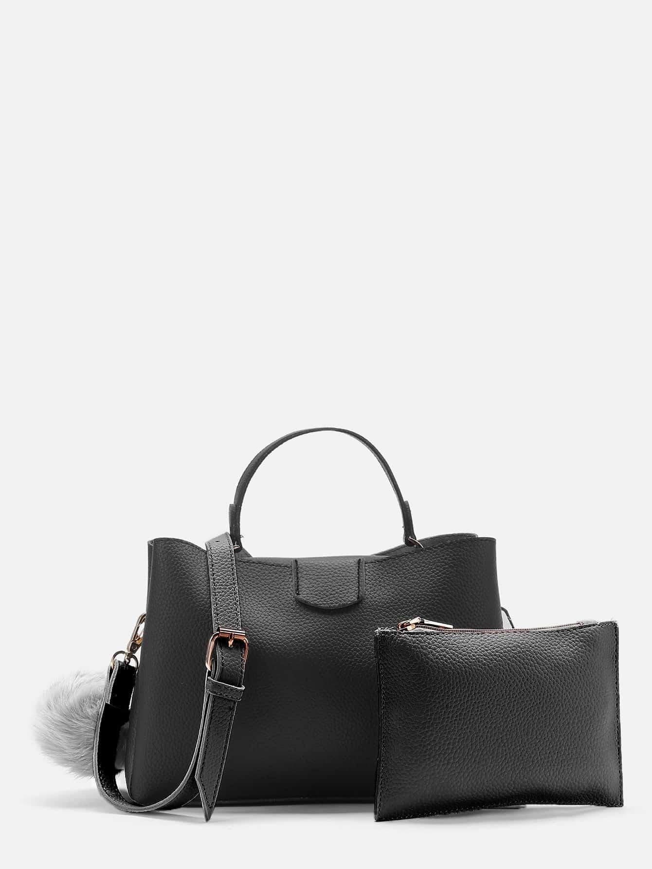 Фото Pom Pom Detail PU Shoulder Bag With Clutch. Купить с доставкой