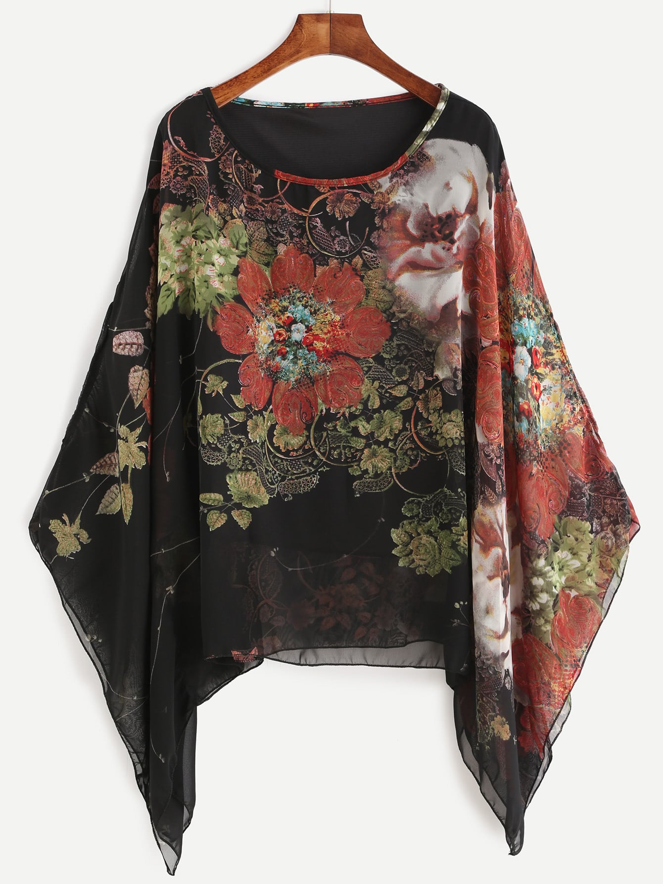 Kimono Sleeve Florals Chiffon Blouse