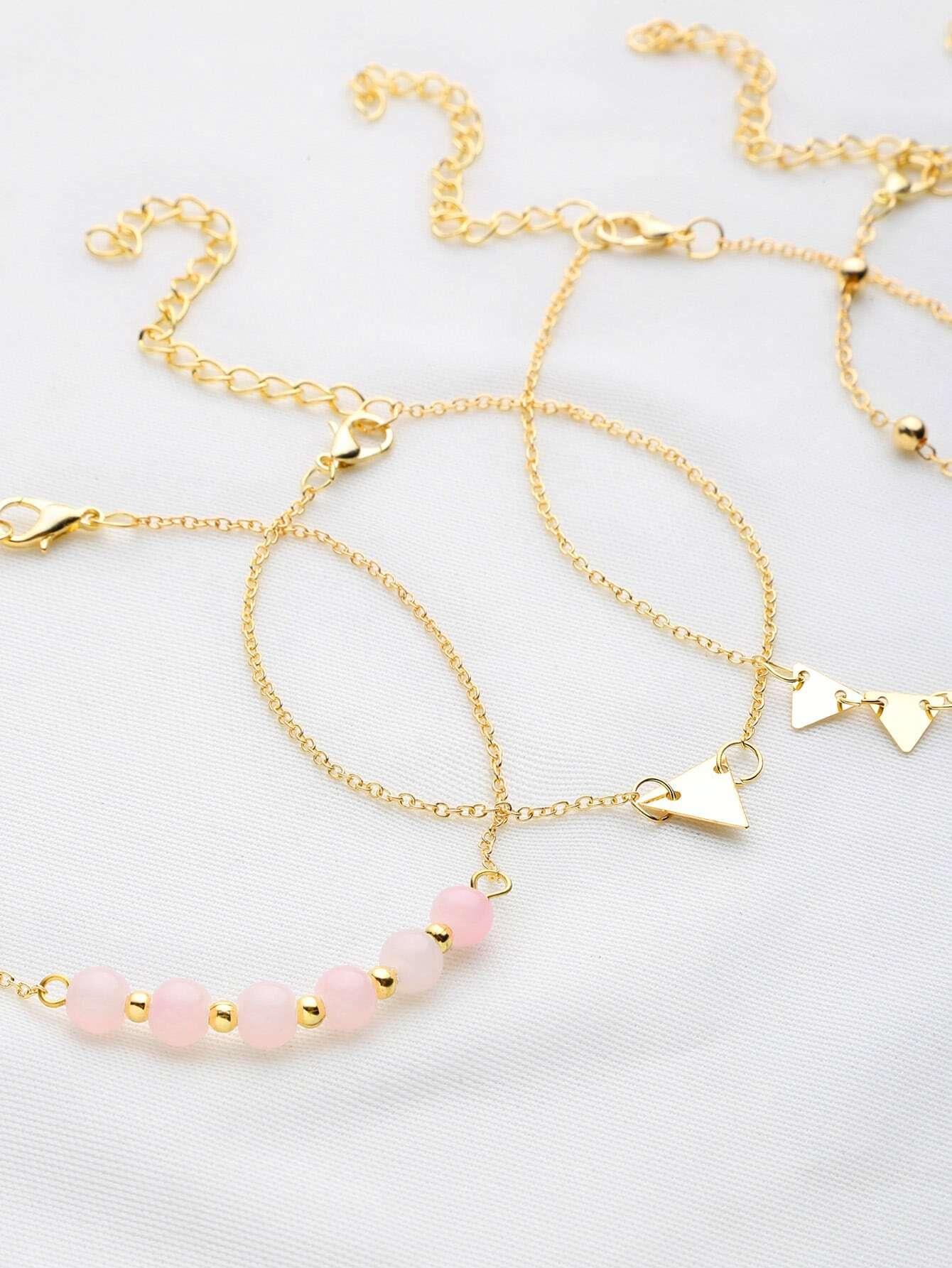 Фото Beaded And Metal Triangle Decorated Bracelet Set. Купить с доставкой