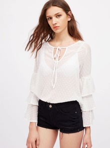 Tie Neck Dot Jacquard Tiered Bell Sleeve Top