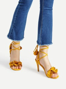 Ruffle Design Lace Up Heeled Sandals